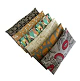Peacegoods Aromatherapy Eye Pillow - Bundle of (6) - 4.5 x 9 - Organic Lavender Chamomile Flax Cotton - Removable Cover Washable - Brown Green Gray Black Bird Geometric Abstract Earth Tones