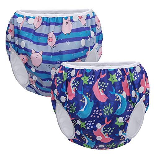 Teamoy 水遊びパンツ 2点セット 0-3歳 赤ちゃん用 ボタンでサイズ調整可能 防水外層 ポリエステルメッシュ内層 オムツカバー スイミング教室・公園・海水浴・プール(豚+イカル)