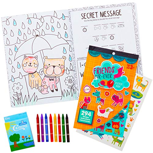 All-In-One Travel Kit for Kids. 32 Pg Coloring and Activity Book with Cats, Dogs, and More Pets, 294 Stickers and 8 Crayons. Great Set for Car and Plane Rides or Road Trips for Children, Boys or Girls