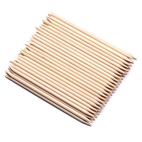 Borogo 100 Pcs Orange Wood Nail Sticks Double Sided Multi Functional Cuticle Pusher Remover Manicure Pedicure Tool for Manicure Pedicure