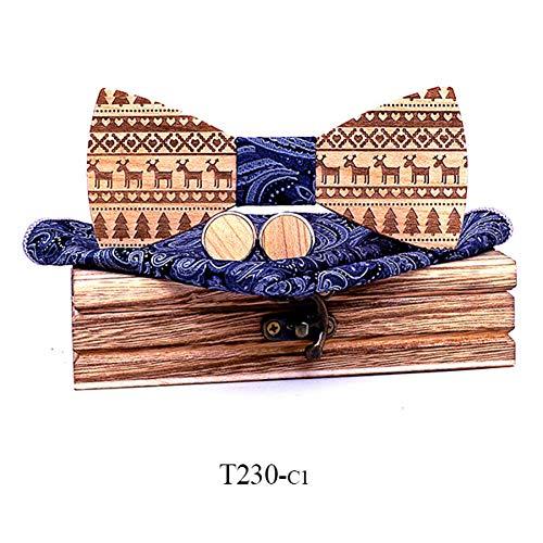 DYDONGWL Nekbanden, Esdoorn Houten Bow Ties voor Mannen stropdassen Hout Bowtie Handgemaakte Vlinder Hout Bow Tie gift Manchetknopen zakdoek Set doos