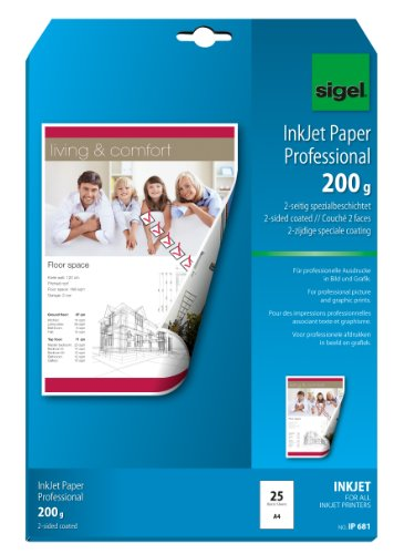 SIGEL IP681 InkJet-Papier, A4, 25 Blatt, 2seitig spezialbeschichtet matt, hochweiß, beidseitig bedruckbar, 200 g
