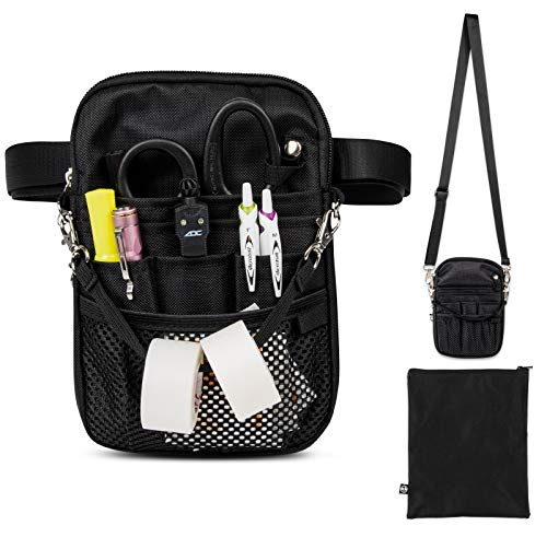 First Lifesaver 4-in-1 Convertible Nurse Fanny Pack with Multi-Compartment and Tape Holder For Nurses, Nursing Students (Black)