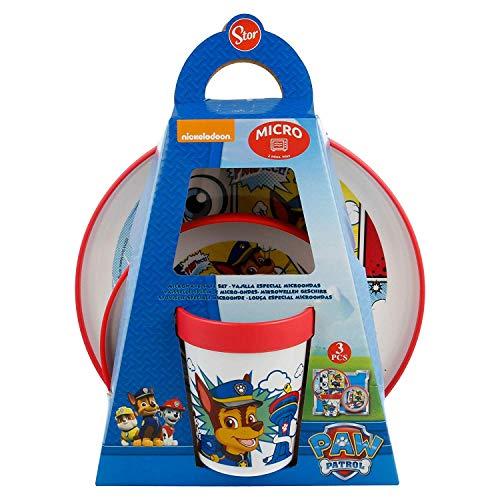 Paw Patrol - Set di stoviglie per bambini, 3 pezzi, con piatto, ciotola, tazze, colori: rosso, bianco, blu, multicolore