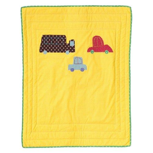 RICE Baby Decke - Auto - Spieldecke - Tagesdecke - 90x70 cm - gelb