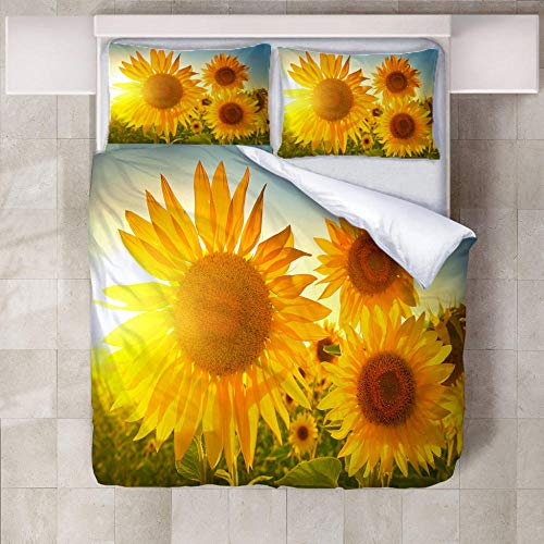 JNBGYAPS 3D Effect Printed duvet cover Sunflower field Bedding set with Pillocases (with Zipper Closure) Soft Microfiber Quilt Cover Single200X200cm