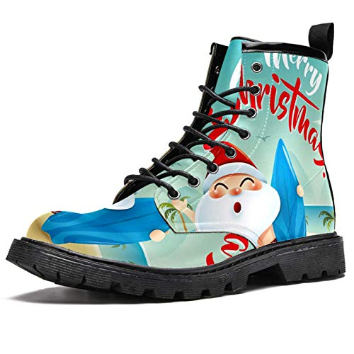 MAPOLO Men's High Top Boots Lace Up Laughing Santa Clause Hold A Surfboard Winter Boots Casual Leather Slip Resistant Ankle Shoes