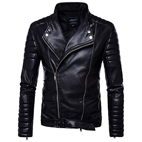 MISSMAOM Uomo Giacca Nera Stile Motociclista in Pelle Sintetica Cappotto Pelle de Invierno con Cintura Nero 4XL