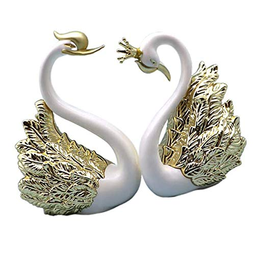 SACALA 2Pcs Golden Swan Cake Topper Ornaments, Pair of Swan Figurines for Car Dashboard Decorating, Statues for Home Party Wedding Christmas Decorations