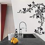 Stickers Cuisine Branche Fleurs Stickers Arbre Vinyle Amovible Autocollants Muraux
