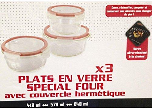 Lot de trois plats en verre ronds empilables avec couvercles hermétiques compatibles four, mico ondes, frigo, congélateur