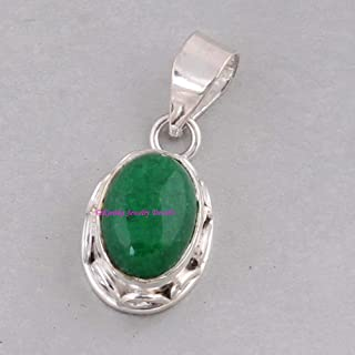 Green Jade Pendant, 925 Sterling Silver Pendants for Womens, Oval Gemstone Pendants, Handmade May Birthstone Pendants, Oval Drop Pendant