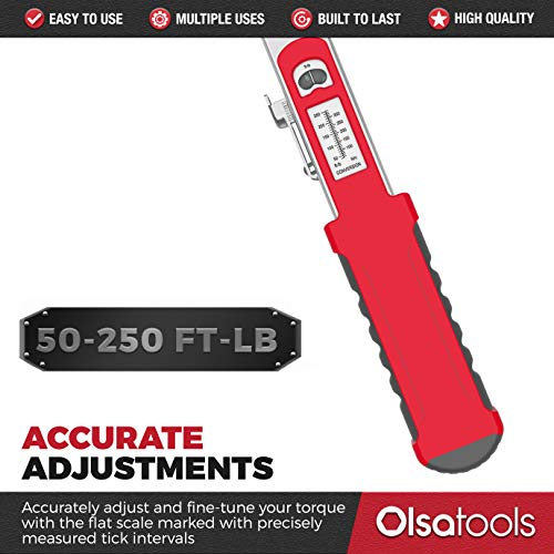 Olsa Tools Split Beam Torque Wrench, 1/2 inch Drive, -+4% Accuracy (50-250 ft-lb Torque Range) | Flat Flex Head Ratchet | Professionally Certified, Calibrated and Accurate | Professional Grade