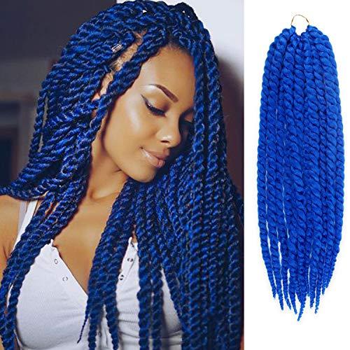 24 Inch 6 Packs AU-THEN-TIC 2X Jumbo Senegalese Twist Crochet Braid Hair Havana Twist Crochet Hair Havana Mambo Twist Crochet Braids Hair Extensions (24 Inch (6 Pack), BLUE)