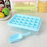 JTKJ Cubitera de hielo con tapa y cubo, 24 rejillas de silicona, flexible y segura, con caja para hielo, pala y tapa, color azul, 33 cuadrículas.