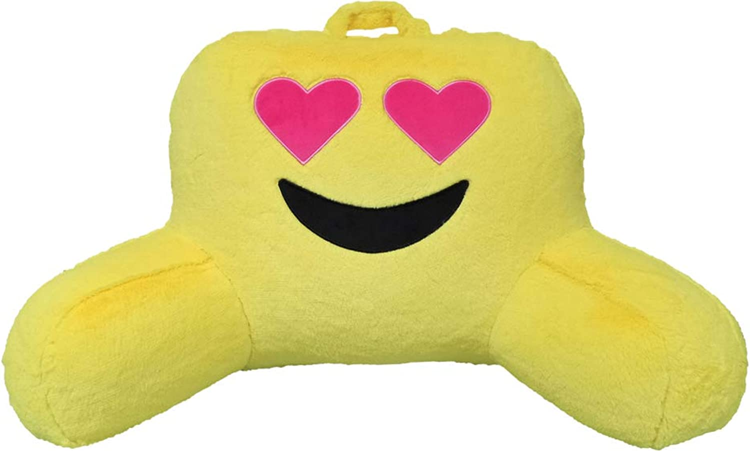 Iscream Heart Eyes Emoji Silky Soft Furry Lounge and Reading Bed Support Pillow
