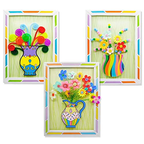 Senbos Art Craft Kits for Kids, 3D Picture Frame DIY Button Bouquet Kits Handmade Kid Craft Art Projects Parent-Child Interactive Educational Toys Perfect for Developing Children's Imagination, 3 Pack