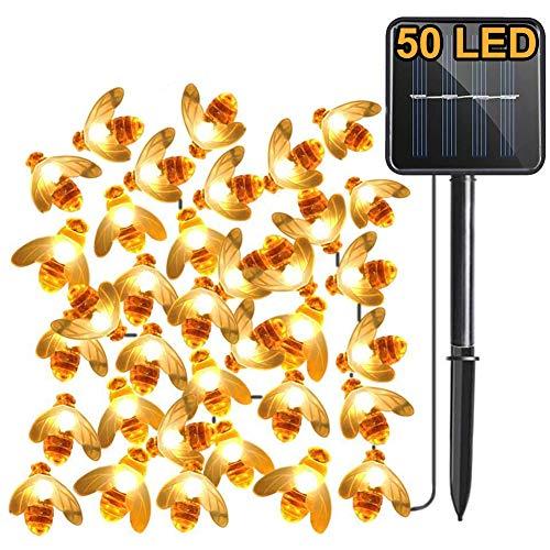 Solar Gartenlichter, Aktualisierung 7M 50LED Biene, 8 Modi Lichterkette, IP65 Wasserdicht Außenbeleuchtung, Solarbetrieben Beleuchtung zum Haus, Patio, Zaun, Party, Weihnachten, Baum (Warmweiß)
