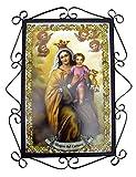 Rustiluz Azulejo de cerámica Virgen del Carmen con Herraje de forja.