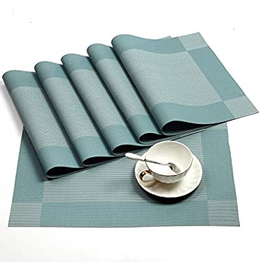 Placemat,U'Artlines Crossweave Blue Woven Vinyl Non-slip Insulation Placemat Washable Table Mats Set of 6