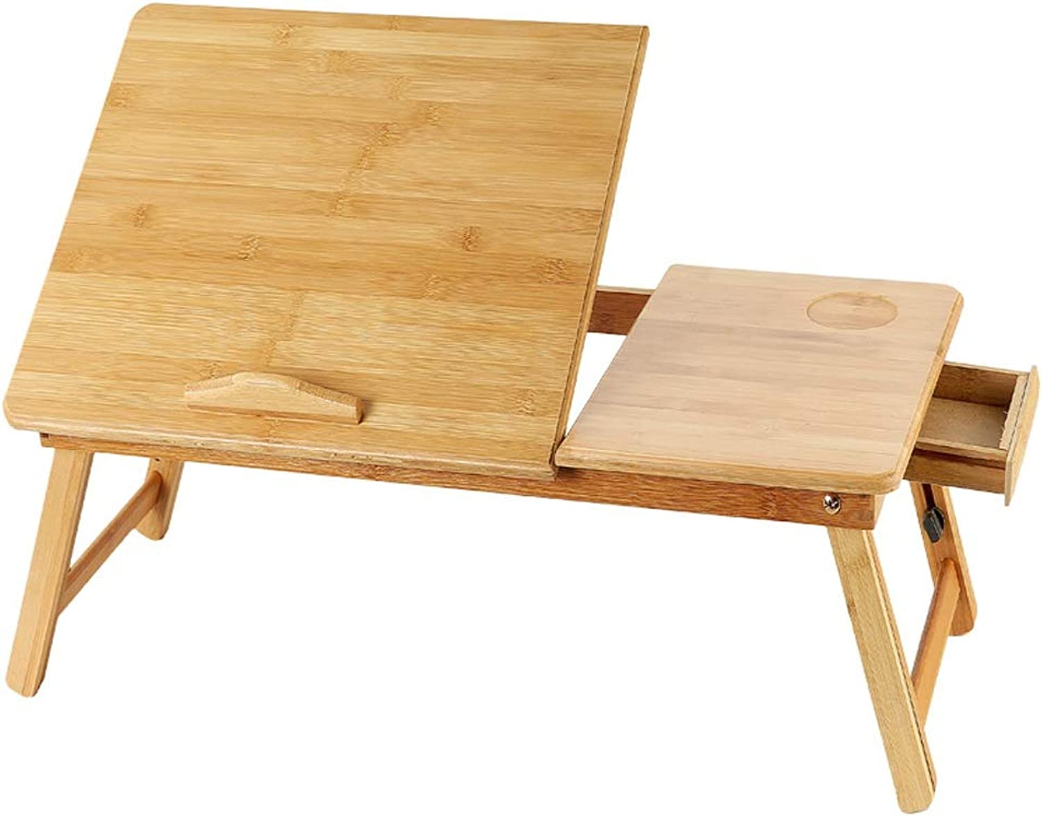 Djyyh Bamboo and Wood Laptop Desk, Foldable Small Desk, College Bedroom Multi-Function Artifact Home Lift Table with Drawer