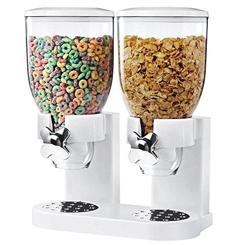 BAKAJI - Dispensador para Cereales, Pasta, Caramelos, Dulces, Fruta Seca Individual con Ruedas, Doble contenedor de 8 litros y dosificador Interior, Blanco