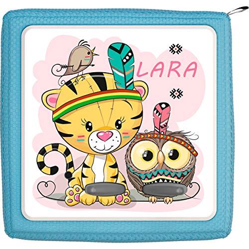 Coverlounge Schutzfolie passend für die Toniebox | Folie Sticker | Kleine Löwin mit Eule als Indianer Verkleidet mit Name personalisiert