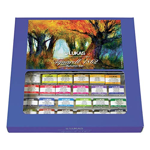 LUKAS Aquarell 1862 Artist Autumn-Themed Watercolor Paint Sets - Complete Professional Quality Kit of Brilliant Fall Colors - 24 Whole Pans