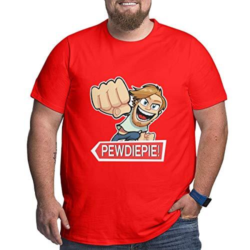 Pewdiepie T-Shirts Herren Kurzarm Tops Plus Größen Xl-6xl Cotton Tee Red 3XL