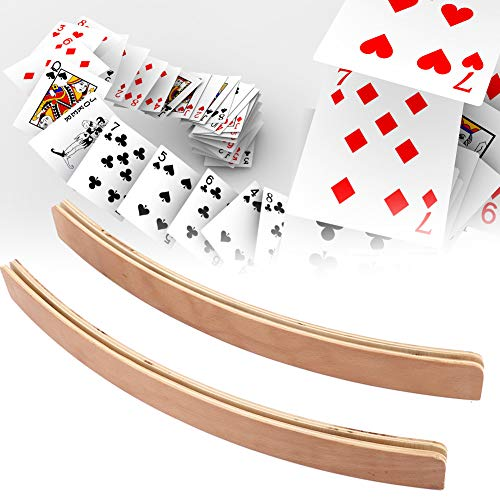 Playing Card Holder, 2pcs Wooden Pocker Stand Hands Free Playing Card Organizer Base for Arthritis Elderly