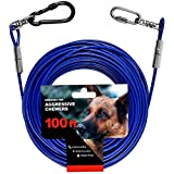 WATFOON Heavy Duty Tie Out Cable for Large Dogs 85lbs 110lbs 250lbs 440lbs, 10ft/ 20ft, with Swivel Clip Tangle Free for Outdoor, Yard Tie Out and Camping (85lbs 100ft Blue)