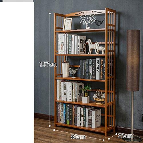 JX&BOOS Estantería,Pequeña Librería de Almacenamiento Rack Mesa Moderna Simple bambú Piso de...