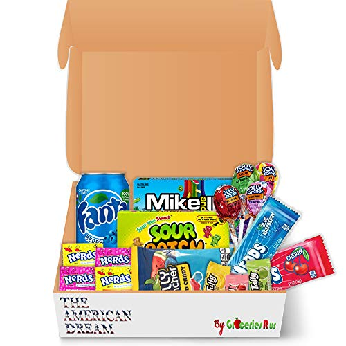 American Sweets Hamper USA Candy Selection Jolly Rancher, Nerds, Airheads, Sour Patch Mike & IKE Tasty Treats Retro Geschenkbox