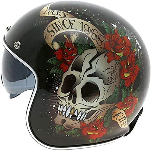 ZHXH Motorradhelm für Frauen, Harley Adult Street Riding 3/4 Motorradhelm mit offenem Gesicht kann Brille/Punkt verbergen, genehmigt,