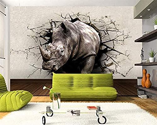 Papel tapiz fotográfico Rhino Wall Hole Animal Mural Entrada Dormitorio Sala de estar TV Fondo Papel Pared Pintado Papel tapiz 3D Decoración dormitorio Fotomural sala sofá pared mural-250cm×170cm