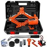 WOKEZ Electric Car Jack 3 Ton 12V Lifting Range 12-42cm Orange Floor Jack with Manual Wrench for SUV Tool Kit