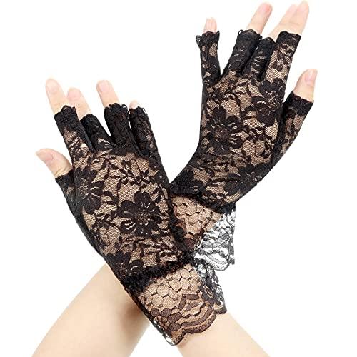 Fingerlose Spitze Handschuhe, Damen Schwarze Spitze Fingerlose Handschuhe, Fingerlose Kurze Spitze Handschuhe, Halloween Party Kostüm Zubehör Schwarze Handschuhe