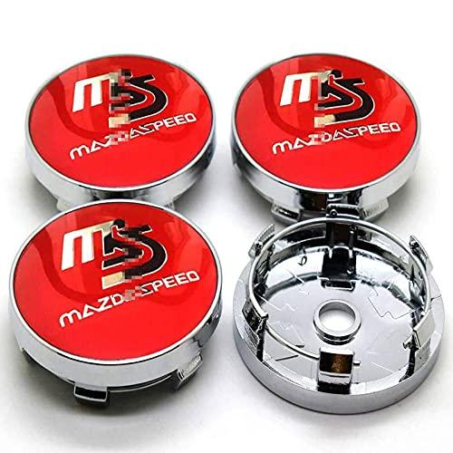 4 Piezas Etiqueta Engomada Insignia Emblema 3D Casquillos Centrales Rueda Para Mazda Speed, Cubierta Central Pegatinas Tapacubos Protector Prueba Agua Accesorios Diseño Coche, 60MM