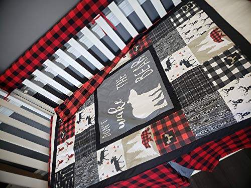 Dont wake the bear,woodland 1 to 4 Piece baby boy nursery crib bedding, Personalized, Quilt with plaid minky back, bumper,bed skirt,crib sheet,moose,bear, buffalo plaid