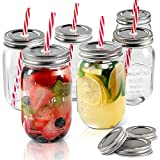 Mason Jars 6 PCS 16 oz Wide Mouth Glass Jars with Lids & Straws Send 3 Non-Pores Covers Kitchen...