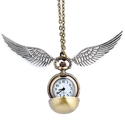 HS86 Goldene Kugel Goldener Ball Halskette mit Flügel Antike Bronze mit Uhr