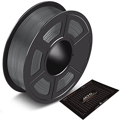 PLA Filament 1.75mm 1kg Verbrauchsmaterialien JAYO 3D Drucker Filament Grau PLA 3D Drucker Filament PLA 1kg Spule (2.2lbs), Genauigkeit ±0.02 mm, Grey Bundle mit Build Surface