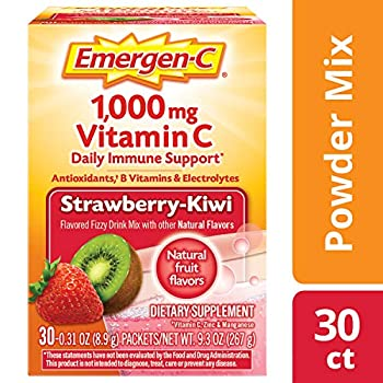 Emergen-C Dietary Supplement Drink Mix with 1000 mg Vitamin C 0.31 Ounce Powder Packets Caffeine Free  Strawberry-Kiwi Flavor 30 Count  2-Pack