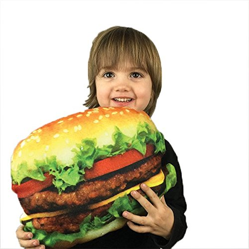Cheeseburger Novelty Food Throw Pillows Lifelike Designs - Easy to Clean