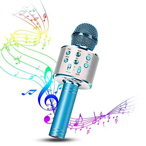 Karaoke Mikrofon, Drahtlose Bluetooth Mikrofon Tragbares Handmikrofon mit Lautsprecher und Aufnahme, Drahtlose Mikrofon Player für Erwachsene und Kinder, Kompatibel mit Android/IOS (Blau)