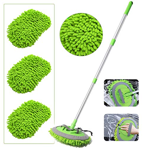 2-in-1 Car Wash Mop Mitt with 3 Pcs Mop Heads, 45' Long Handle Chenille Microfiber Car Wash Dust Brush Extension Pole Flexible Rotation Scratch Free Cleaning Tool Dust Collector Supplies (Green)