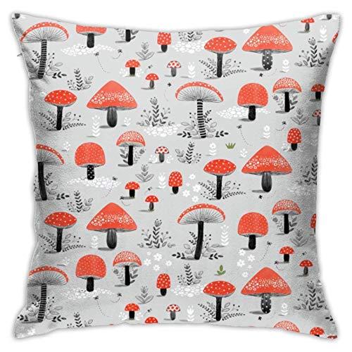Fundas de almohada decorativas de hongos rojos, fundas de cojín cuadradas para sofá de coche, decoración del hogar, dibujos animados, bosques de setas rojas.