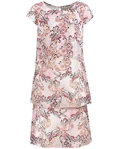 Gerry Weber Damen Kleid Mit Stufen Ausgestellt Rosa/Tabak/Flamingo Druck 40