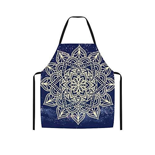 Delantales de encaje de mandala en el cielo estrellado FXH20200402GPC016 personalizados, color negro, sin bolsillo, ajustable, para cocinar en casa