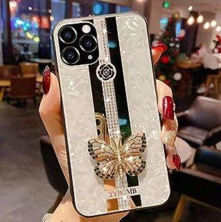 Kompatibel mit iPhone 12 Pro Max 6,7 Zoll Hülle, modisches Design niedlicher 3D Schmetterling Glitzer Bling Strass Marmor Spiegel Cover für Frau Mädchen Handyhülle, weiß